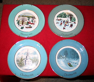 Lot of 4 Avon Christmas Plates for years: 1973 - 1976
