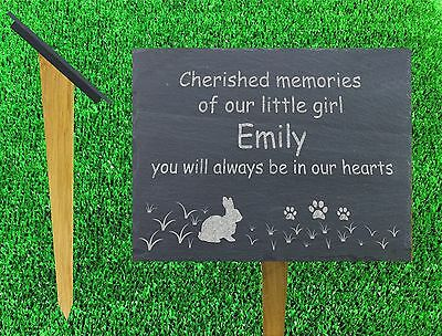 pet rabbit memorial stake grave marker natural slate and oak