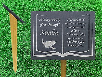 natural slate memorial grave marker personalised cat kitten