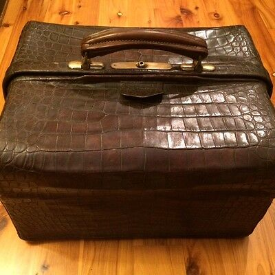 Genuine Crocodile & Brass Doctor Bag w Key 1920'