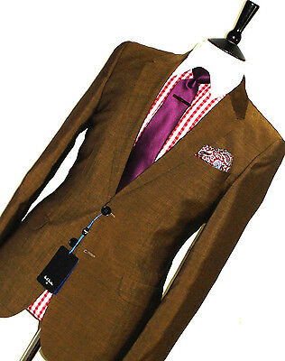 Bnwt Mens Paul Smith Ps London Tonic Gold Tailor-Made Slim Fit Suit 40R W34
