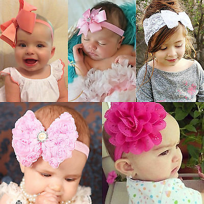 Infant Baby Girls Flower Bow Knot Head Band Headwear Hairband DIY Photo Props