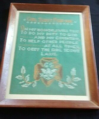 Vintage 1970s Girl Scout Promise Cross Stitch Collectable Wall Art Framed Glass
