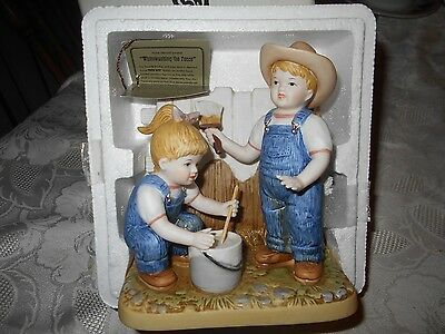 "Home Interiors Porcelain Denim Days "" Whitewashing The Fence"" NIB"