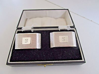 Pair Art Deco Sterling Silver Napkin Rings..Cased..Birmingham 1933..