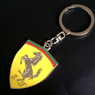 3D Metal Ferrari Car Logo Keyring Key Chain Yellow Pendant Key Holder Ring