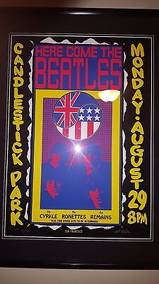Here Come The Beatles Candlestick Park Poster AOR 1.15 Signed Wes Wilson 1966
