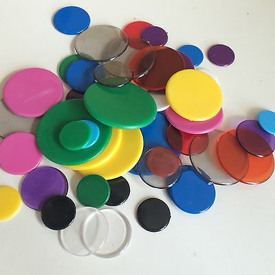 Pack of Mixed Counters / Tiddlywinks Mixed Sizes and Colours - Game Pieces D101