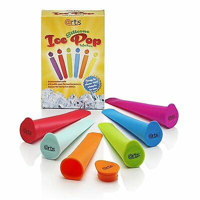 Set of 6 Silicone Ice Pole Makers Frozen Popsicle Lolly Pop Mould Ice Maker Mold