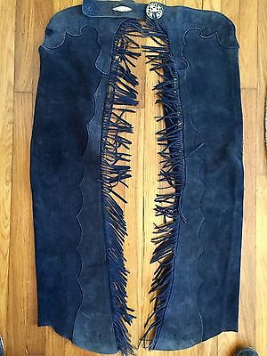 Western Leather Navy Suede Chaps Fringe Show Work Talon Horse Equestrian