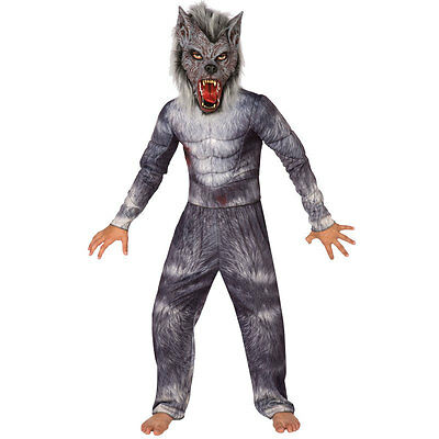 Kids Child Werewolf Wolf Fancy Dress Halloween Costume Party Hairy Mask Outfit