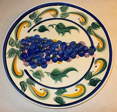 1996 Gail Pittman Large Grape Pattern Round Chop Dish Serving Plate 14 1/2""