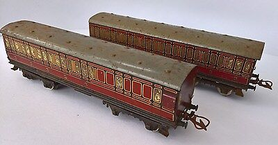 Pair of O Gauge MECCANO / HORNBY SERIES - 1st & 3rd Class Coaches - LMS Livery