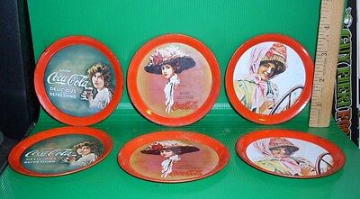 Set of 6 Vintage Coca Cola Red Tin Gibson Girl Coasters Preowned Rare Find
