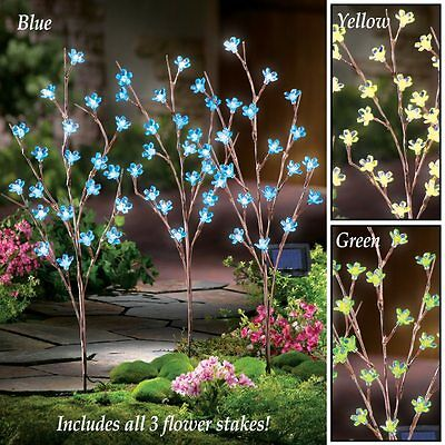 Set of 3 Solar Powered Lighted Green Flower Blooms Branch Garden Stakes