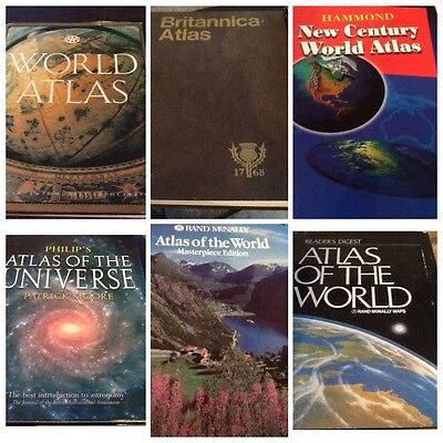 Lot 6 World Atlas Book Digest Mcnally Universe Hammond Britannica Masterpiece