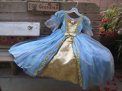 DISNEY CINDERELLA Princess Deluxe Costume Blue Satin/ Chiffon Dress SIZE XS 4