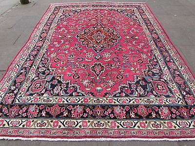 Old Hand Made Traditional Persian Rugs Oriental Wool Pink Red Carpet 340x247cm