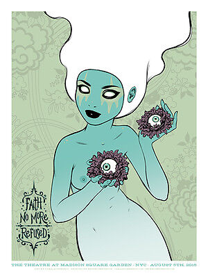 FAITH NO MORE / REFUSED poster New York 2015 (white hair) by Tara McPherson