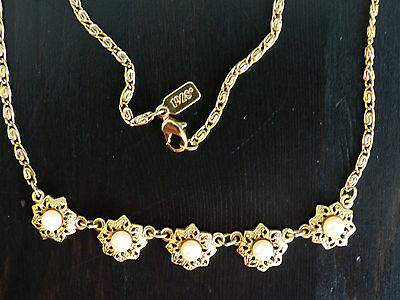 2 x 1928 Necklace: 1 Gold Choker Pearls - 1 Silver Turquoise Peridot Stones MINT