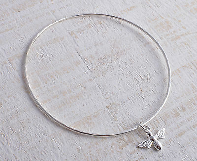 Sterling Silver Bee Charm Round Hammered Bangle / Bracelet 925
