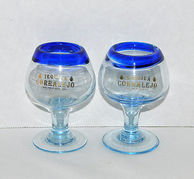 "2 Tequila Corralejo Low Ball Small Clear Glass w/Blue Rim Goblets 4-1/4"" T"