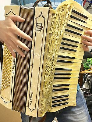 Beautiful Vintage Antique Accordion By Hohner Mother Of Pearl Organetta III 30s