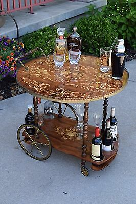 Vintage Bar Cart, Vintage Italian Sorrento Inlaid Marquetry Wood & Brass