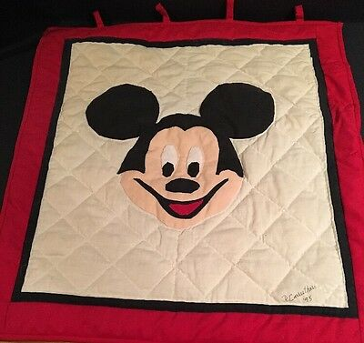 "Vintage Hand Made Small Mickey Mouse Quilt Disney 20"" By 19"""