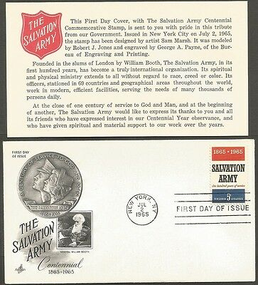 Us Fdc 1965 The Salvation Army Centennial 5C First Day Of Issue Cover + Insert