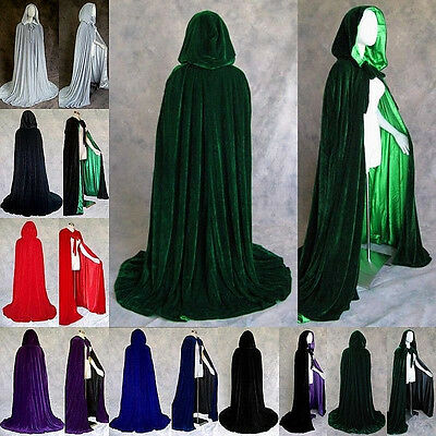 Gothic Hooded Velvet Cloak Gothic Wicca Robe Medieval Halloween Fancy Dress