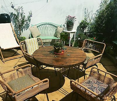 Wooden Industrial Dining Patio Cable drum reel Table Upcycled Bespoke