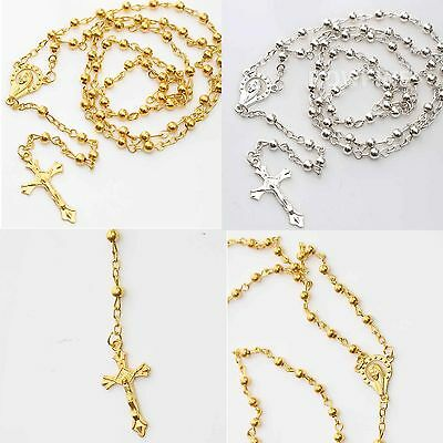 Christian Catholic Cross Necklace Holy Communion Rosary Crucifix Prayer Beads