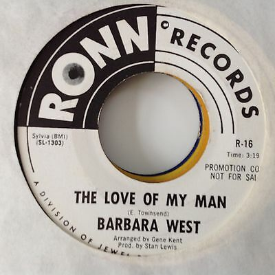 Barbara West - The Love Of My Man / Will He Come Back Ronn Promo R-16. Vg++