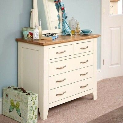 Chest Of Drawers Solid Pine Oak Top Country Storage Bedroom Furniture Set Cream