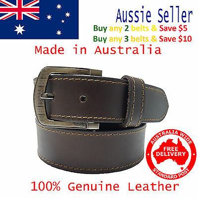 New 35mm Genuine Cowhide Premium Quality Single Stitched Leather Brown Mens Belt