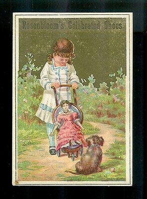 Little Girl Walks Her Puppy & Doll in Stroller-1880s Victorian Trade Card-SALE