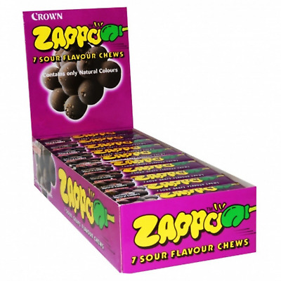 Bulk Lollies 60 x Zappo Chews Sour Grape 26g Candy Buffet Sweets Party Favors