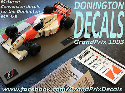 Formula F1 Car Collection water slide DECALS - DONINGTON McLaren MP4/8 Senna IXO
