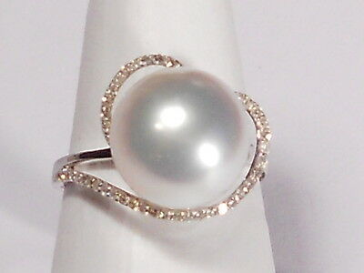 11.4mm white South Sea pearl ring, diamonds, solid 18k white gold.