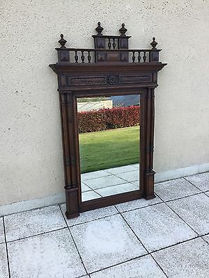 Antique French Carved Walnut Overmantel Hall Mirror