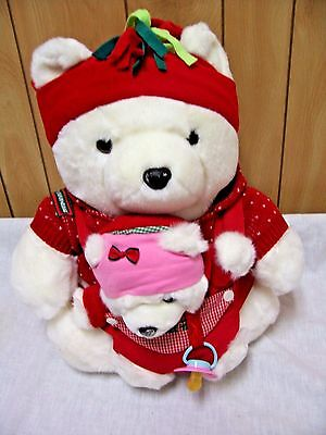 "2002 Marshall Fields/Target 16"" Tall Mama Santa Bear w/Baby Bear! FREE Shipping!"