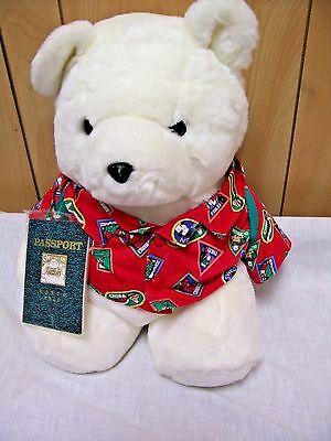 "VG 1993 16"" Dayton Hudson's Travel Santa Bear w/Passport Tag! FREE Shipping!"