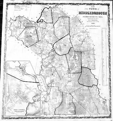 1855 Middleborough, MA Map by H. F. Walling - Home Owners Names Forests Schools
