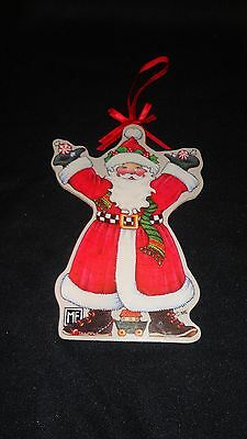 Mary Engelbreit Christmas Collectible Double Sided Wood  Ornament:santa Claus