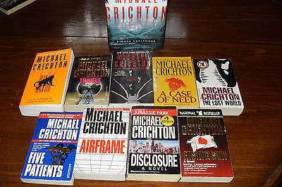 Nice Bundle of Adventure Novels by MICHAEL CRICHTON  free s/h CAN