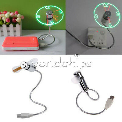New Mini USB LED Clock Fan Powered Cooling Flashing Real Time Display Function