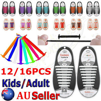 Easy No Tie Elastic Lazy Shoe Lace Silicone Trainers Shoes Adult Kids Shoelaces