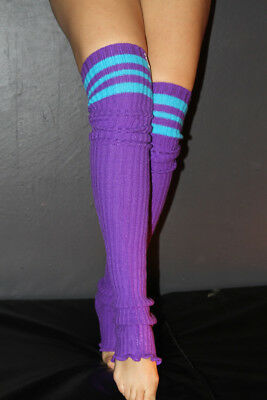 Pole Dance Gym Football Extra long Stirr-up Knit Legwarmers Purple/Turq