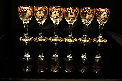 Antique Persian 6 Wine Glass  With King Portrait, Enamel & Gold
